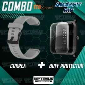 Kit Manilla Correa Pulso y Buff Screen Protector de Reloj inteligente Smartwatch Xiaomi Amazfit Bip