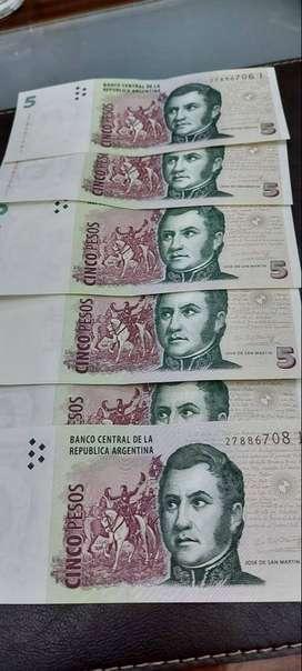 Vendo 30 billetes de 5 pesos