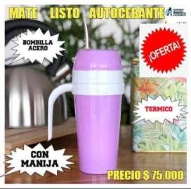 "MEGA OFERTA! MATE LISTO ARGENTINO"" AUTOCEBANTE"" con BOMBILLA de ACERO y MANIJA !"