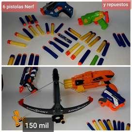 Juego de 6 Nerf diferentes tamaños. Con repuestos.