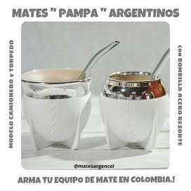 """MATE """" PAMPA"""" ARGENTINO BLANCO con BOMBILLA ACERO RESORTE !"""