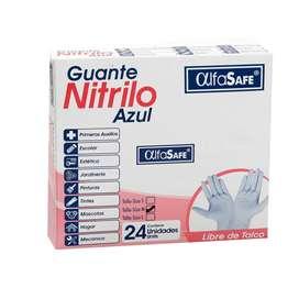 GUANTES DE NITRILO ALFASAFE x 24 UNIDADES AZUL TALLA M