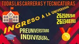 PREUNIVERSITARIO INDIVIDUAL!! ASEGURA TU INGRESO!!! CUOTA MENSUAL DE CLASES PREPARADAS PARA VOS