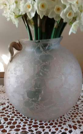 florero anfora esfera, redondo, vidrio craquelado