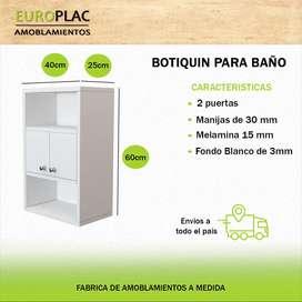 BOTIQUIN DOS PUERTAS Y 2 ESTANTES BLANCO (Modelo BT02)