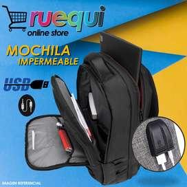 Mochila Impermeable Para Laptop 15 Pulgadas Puerto Usb Aux