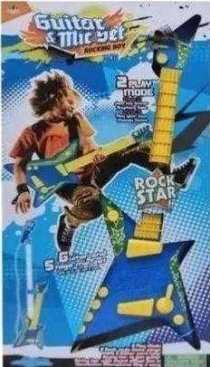 Guitarra Eléctrica Micrófono Juguete Acústica Niños Azul