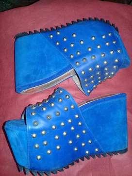 Zuecos Azules 3839 Gamuza Y Cuero