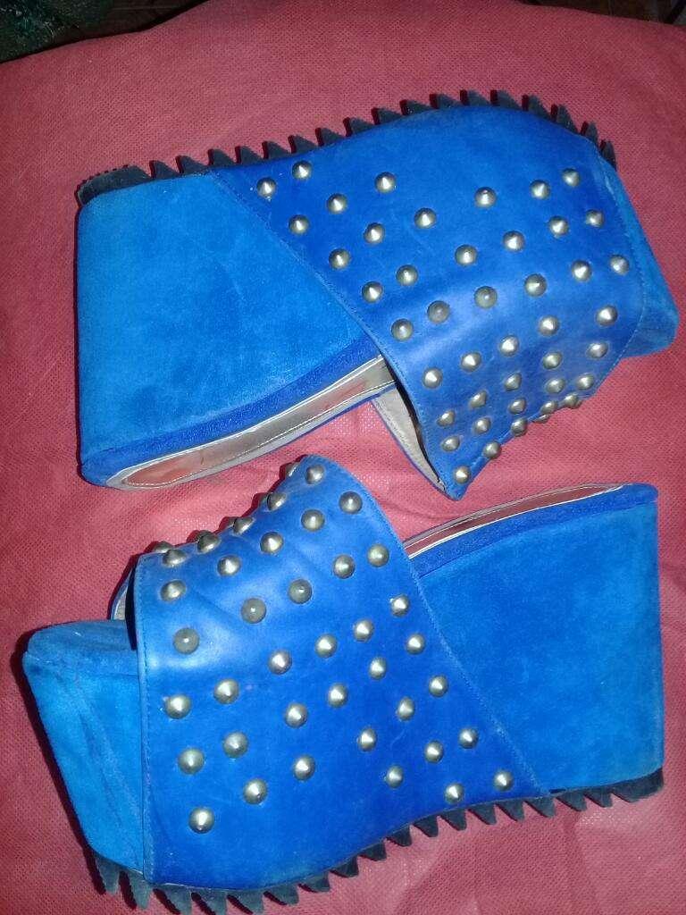 Zuecos Azules 3839 Gamuza Y Cuero 0