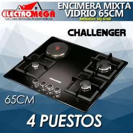 Encimera Challenger Mixta 4 Puestos 65cm Vidrio Templado