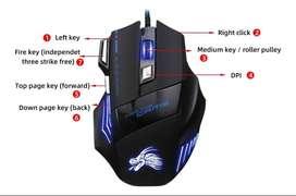 Mouse Usb Gamer Para Pc 7 Botones 5500 Dpi Rgb Multicolor