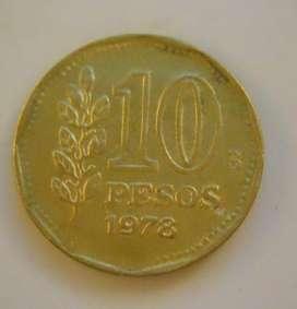 Moneda De 10 Pesos Republica Argentina 1978