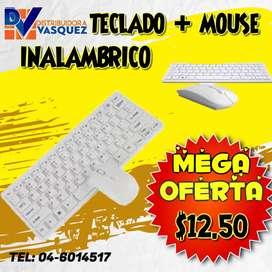 SUPER COMBO TECLADO + MOUSE - BLANCO - OFERTA INALAMBRICO