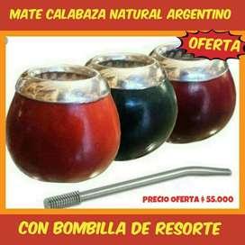 SUPER OFERTA! MATE ARGENTINO DE CALABAZA NATURAL con BOMBILLA ACERO RESORTE! PROMOCION LIMITADA!