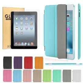 iPad 2/3/4 Estuche Protector Tipo Smart Cover + Vidrio Templado