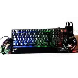 Combo Gamer 3 En 1 Teclado Mouse Y Diadema Retroiluminado Jr