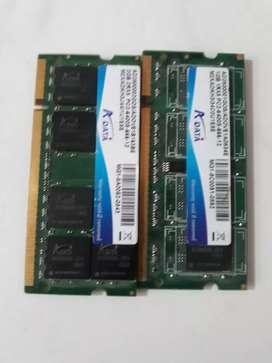Memoria ram para portatiles dr2 2GBy otra de dr2 de 1GB
