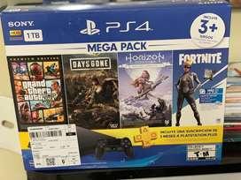 Consola Playstation 4- 1 T slim - 1 control- 3 juegos - 3 meses plus selladas nuevas