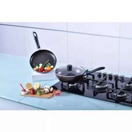 Set wok 24 cm + Sartén 24 cm + Tapa Vidrio