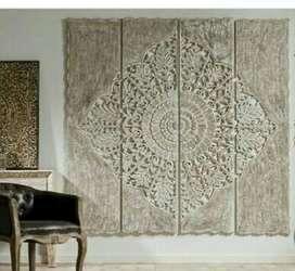 Paneles, cuadros y mandalas tallados a mano en madera