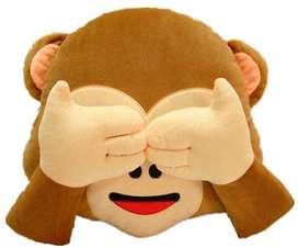 Cojín Emoticon Whatsapp Mico Mono Mizaru No Mirar 30cm