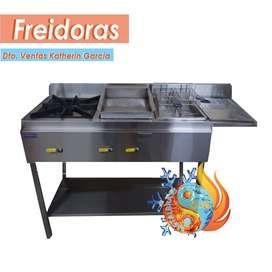 Cocinas Industriales + Planchas para Carnes + Freidoras Industrial + Bandeja de Apoyo