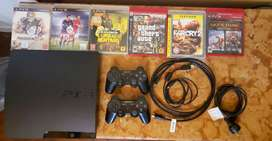 Ps3 Slim 160gb + 2 Joystick + 6 Juegos + Cable Hdmi