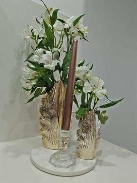 Florero, candelabro, Bandeja marmol NUEVO