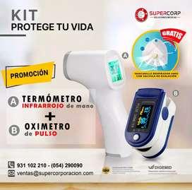 Pulso Oximetro Contec + Termómetro Contamos con Registro Sanitario DIGEMID