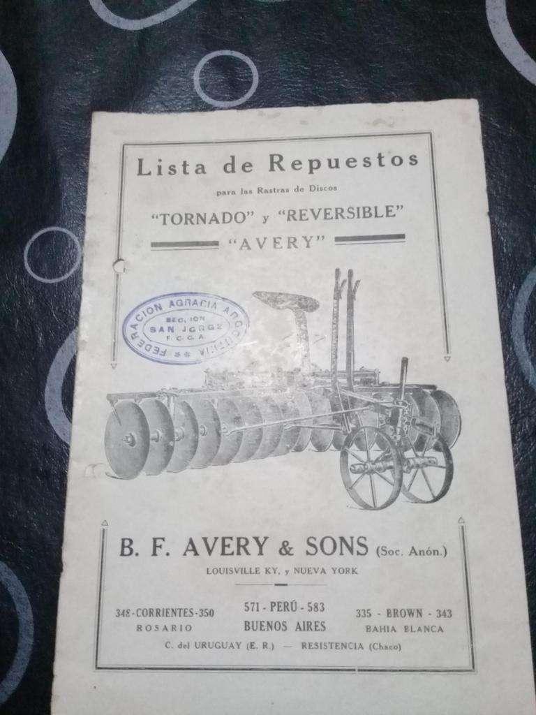 Catálogo De Rastras De Disco Tornado/ Reversible/ Avery 0