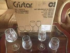 Set de copas y vasos marca CRISTAR 16 piezas