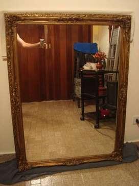 Espejo Antiguo marco francés dorado 1,17 m  x  87 cm impecable!