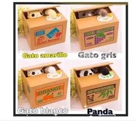Alcancia Robamonedas Gato Y Panda