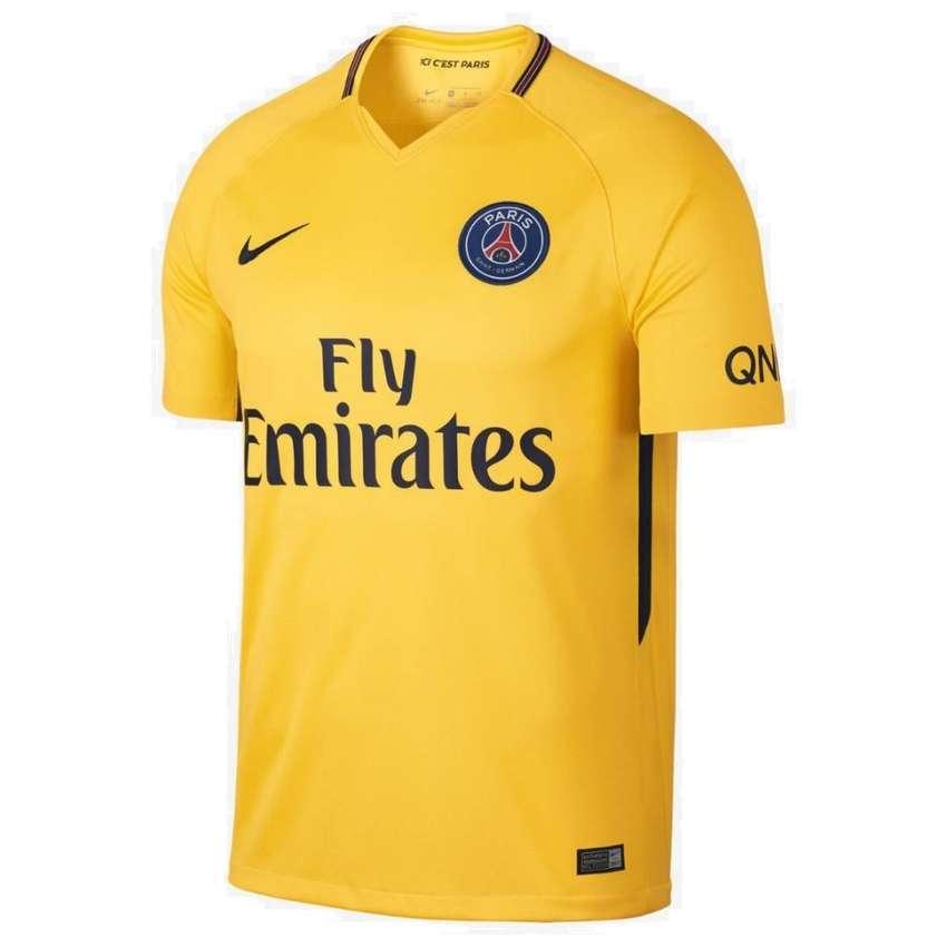 Camiseta del Paris Saint Germain (PSG) de Francia Suplente/Away 2017/18 Amarilla marca Nike Original 0