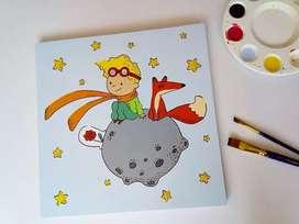 3 Cuadros Infantiles Decorativos Del Principito Pintados A Mano Para Niños