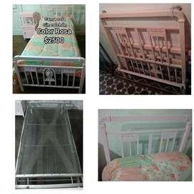 Vendo cama de hierro color Rosa 1 plaza SIN COLCHÓN fuerte impecable