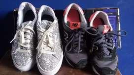 Zapatillas New Balance y Zapatillas urbanas plateadas con brillo