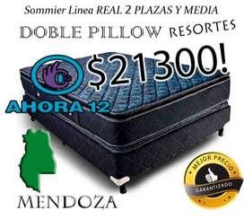 HOT SALE! SOMMIER DOBLE PILLOW RESORTES 2 PLAZAS Y MEDIA. EL MEJOR PRECIO GARANTIZADO! Cama MAS Colchon mza500