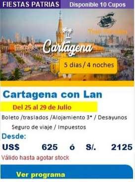 Viaje a Cartagena en Fiestas Patrias Julio 2020