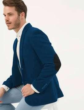Blazer Moderno color azul Petroleo Para Hombre Con Detalles De Codera / Impoluz