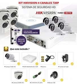 Kit 4 cámaras de seguridad Hikvision HD