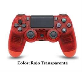 Mando Inalámbrico Bluetooth para PS4/PC/iPhone/iPad/ Color: Rojo Transparente