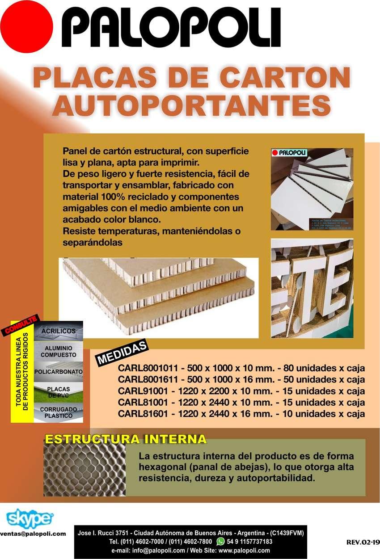 Carton Estructural Blanco 1.22x2.20m Espesor 10mm Palopoli 0