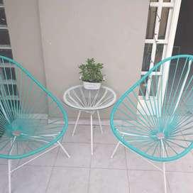 Juego de jardin masa y  sillas acapulco