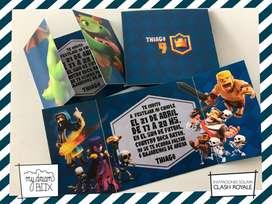 Invitacion Crash Royale Tarjetas Souvenirs Personalizadas Juego Cumpleaños