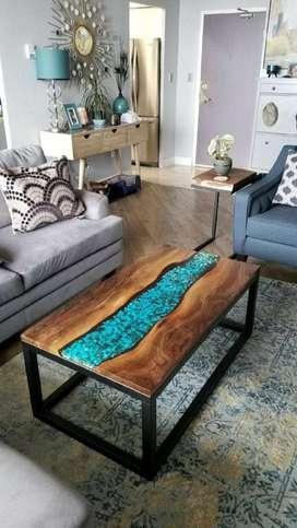Mesas de centro en madera y resina cristal