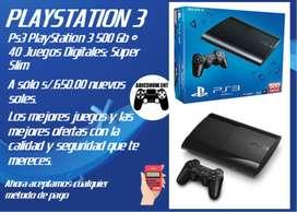 PS3 SUPER SLIM + 40 JUEGOS DIGITALES ORIGINALES