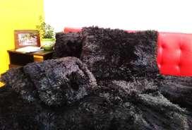 Edredón grueso pelo de oso negro tamaño sencillo