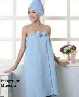 Salida de baño + turbante azul claro