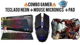 Kit Gamer 3 en 1 : Teclado  Neon Semi Mecánico + Mouse Micronics + Pad Mouse